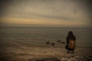 beach lonely girl